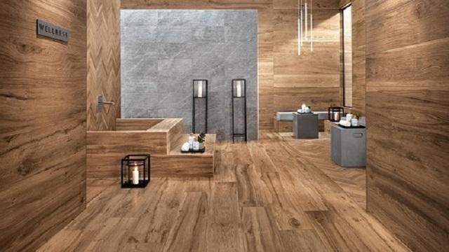 Ảnh 1: Gạch giả gỗ ốp tường kiến tạo nên vẻ đẹp sang trọng và mới lạ cho không gian