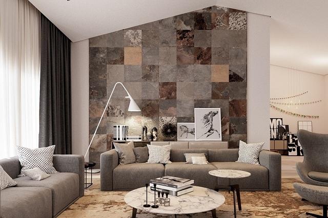 Ảnh 12: Bức tường được tổ điểm bởi những ô vuông cộng hưởng nhiều màu sắc