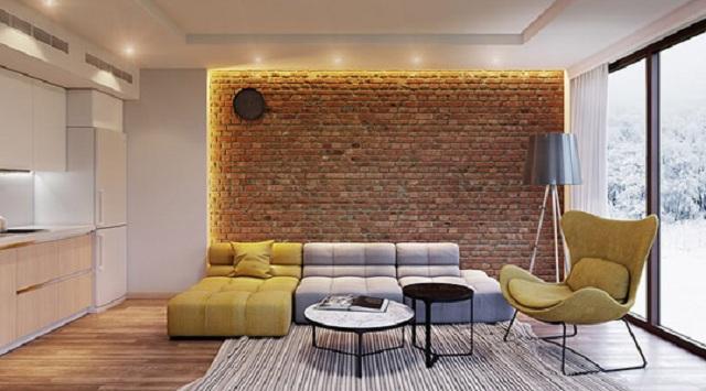 Ảnh 13: Sử dụng gạch ốp tường là xu hướng trang trí nội thất phát triển mạnh mẽ với chung cư hoặc nhà phố