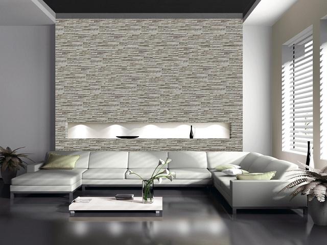 Ảnh 15: Gạch ốp tường họa tiết phòng khách sọc mờ tạo nên mảng tường liền khối sang trọng
