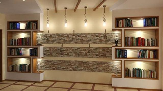 Ảnh 22: Một góc trang trí phòng khách vô cùng ấn tượng nhờ vào gạch đá ốp tường
