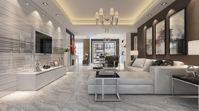 Ảnh 23: Không gian phòng khách đẹp mê ly với mẫu gạch ốp tường sang trọng