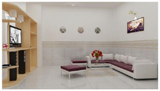 Ảnh 3: Mẫu gạch ốp tường phòng khách theo phong cách đơn giản và trẻ trung