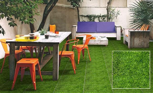 Gạch giả cỏ lát sân vườn mang đến màu xanh bắt mắt